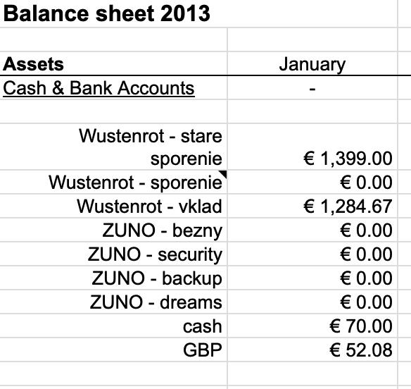 Stav financií Január 2013
